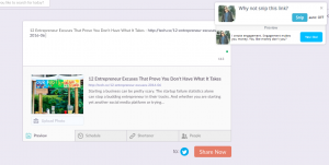 Klout Social Sharing Screen